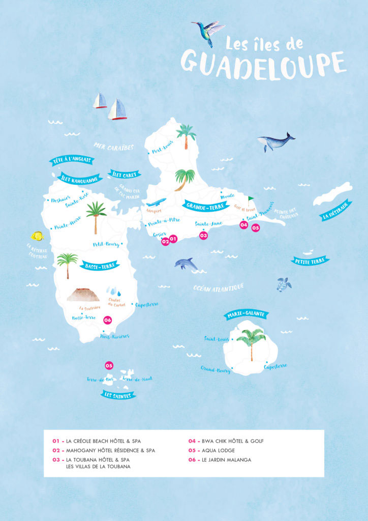 dessin-carte-dhdi-guadeloupe-iles-plages-hotel-carteillustree
